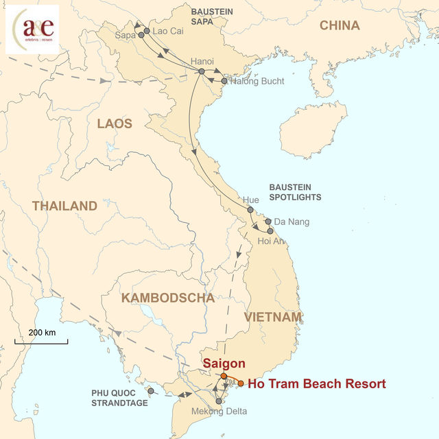 Reiseroute unserer Vietnam Reise Strandtage im Ho Tram Beach Resort