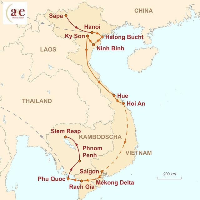 Reiseroute unserer Vietnam Reise Vielfalt und Mythen Vietnams erleben
