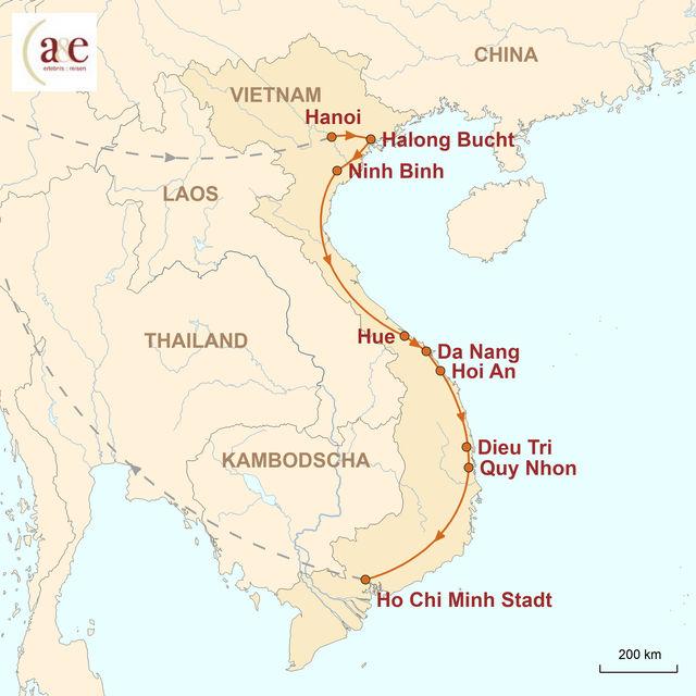 Reiseroute unserer Vietnam Reise Von Nord nach Süd per Zug