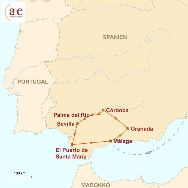 Karte Andalusien Rundreise