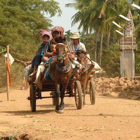 Dorfszene, Kambodscha