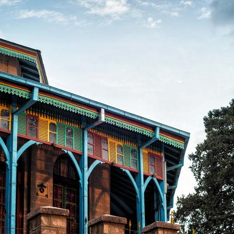 Bunte Entoto Maryam Kirche in Addis Abeba, Äthiopien