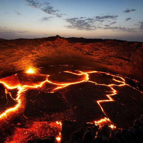 Lavasee: Leuchtender Erta Ale Vulkan, Äthiopien