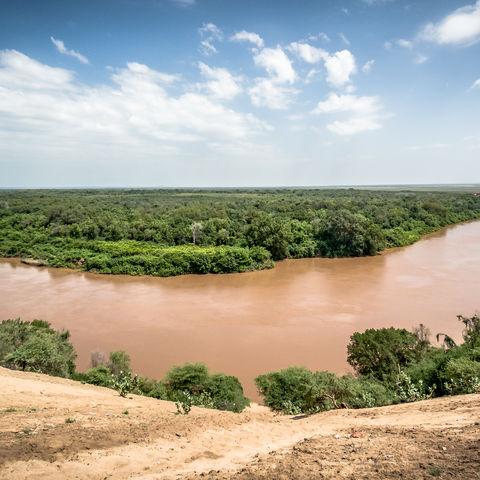 Überblick über den Omo Fluss, Äthiopien