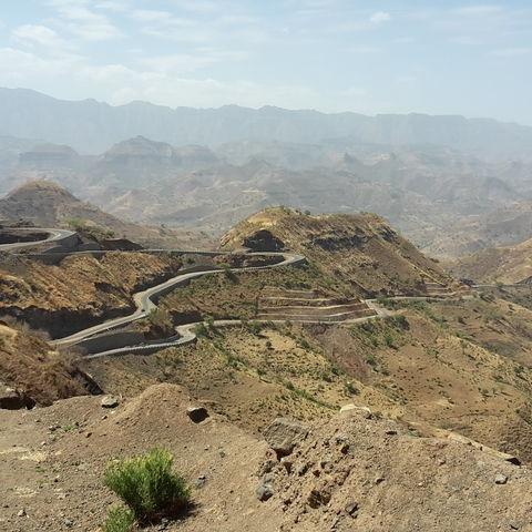 Serpentinenstraße im Simien Gebirge, Äthiopien