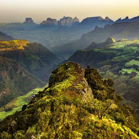 Aussichtspunkt in der Nähe vom Chenek Camp im Simien Nationalpark, Äthiopien