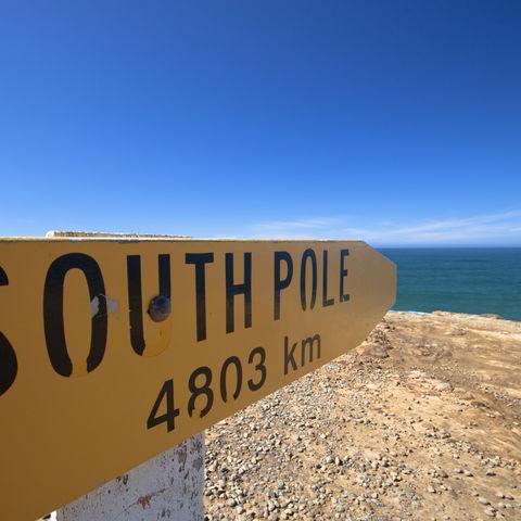 Schild zum Südpol, Antarktis