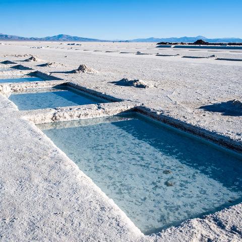 Salzgewinnungsanlage in den Salinas Grandes, Argentinien