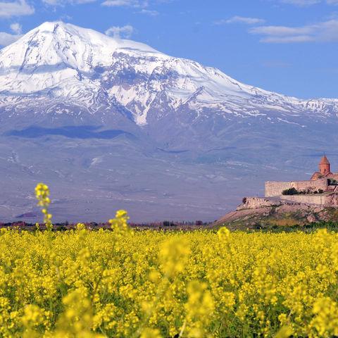 Beeindruckender Blick auf das Kloster Chor Virap und den Vulkan Ararat, Armenien