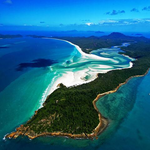 Luftaufnahme des Whitehave Beach auf den Whitsundays, Australien