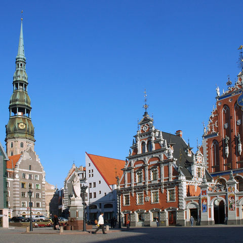 Petrikirche und Rathaus in Riga, Lettland, Baltikum