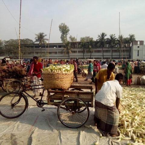 Fahrradrikscha auf trubeligen Markt, Bangladesch