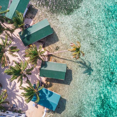 Was für ein Anblick! Tobacco Caye aus der Vogelperspektive, Belize Barrier Reef, Belize