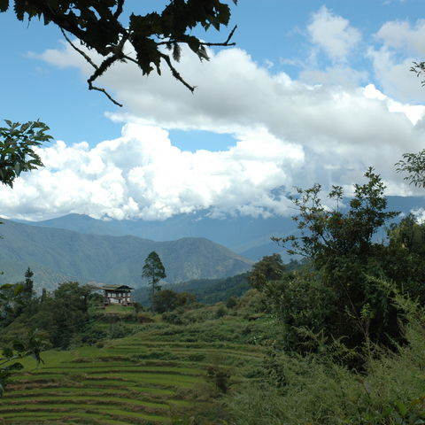 Blick aufs Gebirge, Bhutan