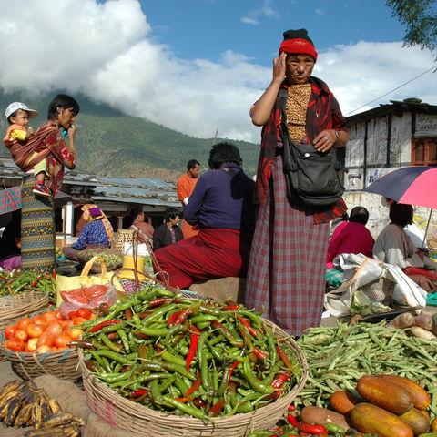 Frisches Gemüse auf dem Markt, Bhutan