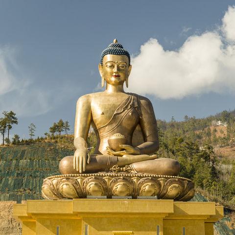 Auf knapp 2.300 m gelegen: die goldene Buddha Dordenma-Statue, Thimphu, Bhutan