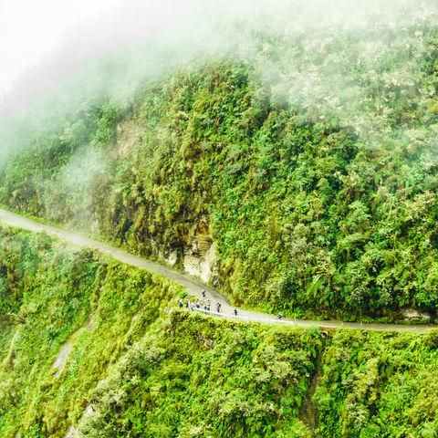 Nebelschwaden auf der berühmtesten Straße Boliviens, der Death Road, Bolivien