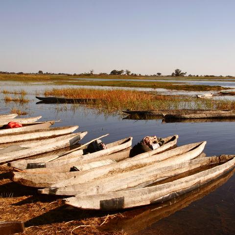 Mokoros am Flussufer, Botswana