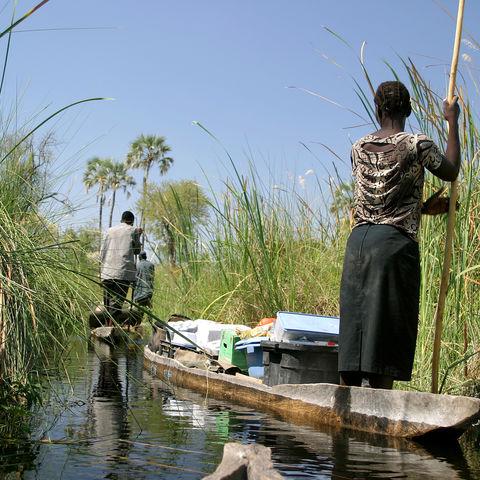 Bootsfahrt auf einem Mokoro durch das Okavangodelta, Botswana