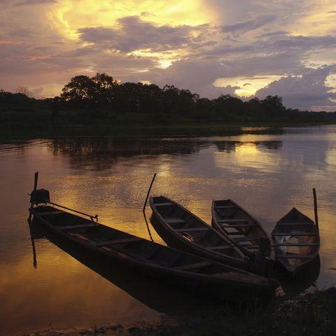 Sonnenuntergang über dem Amazonas, Brasilien