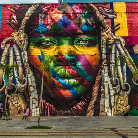 Street Art des Künstlers Eduardo Kobra, Straßen von Rio de Janeiro, Brasilien