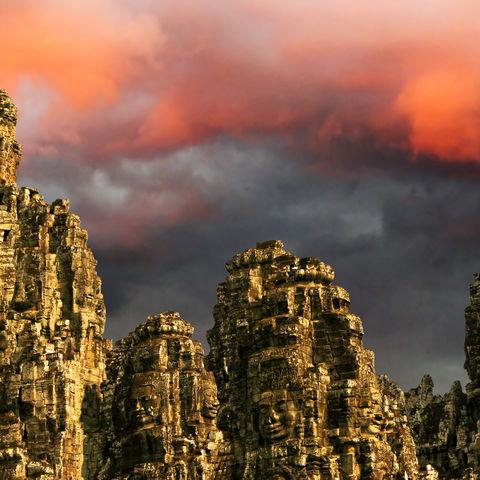 Sonnenaufgang bei Angkor Wat in Siem Reap, Kambodscha