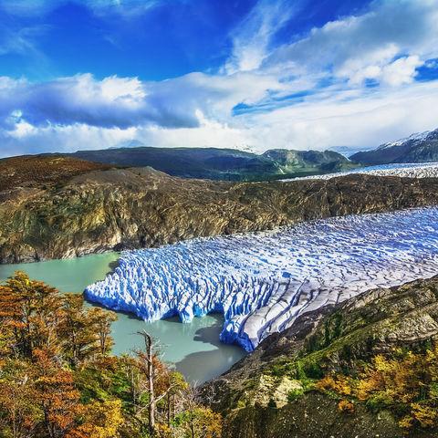 Luftaufnahme des Grey Gletscher im Torres del Paine Nationalpark, Chile