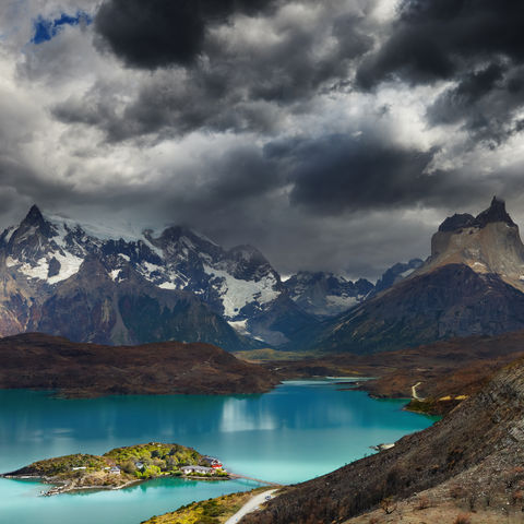 Pehoé-See im Torres del Paine Natinalpark, Chile