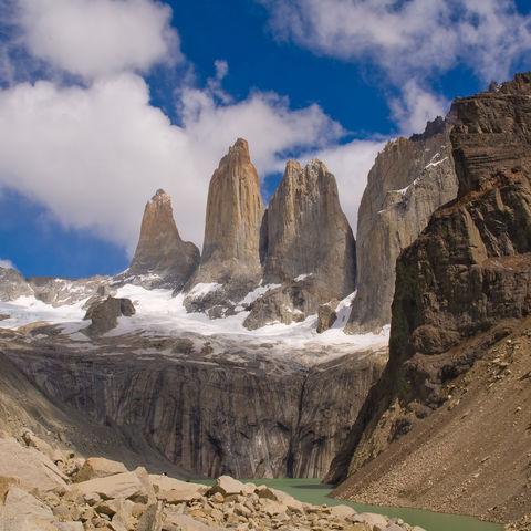 Torres-Spitzen im Torres del Paine Nationalpark, Chile