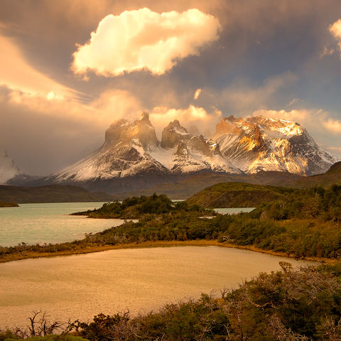Sonnenuntergang im Torres del Paine Nationalpark, Chile
