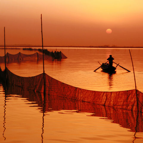 Fischer beim Sonnenuntergang, China