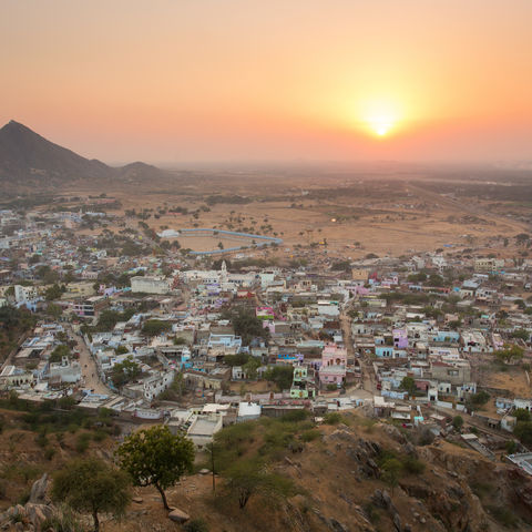 Sonnenuntergang über Pushkar, Indien