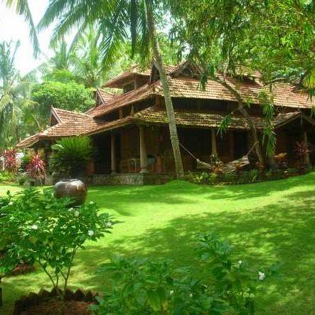 Anblick auf ein Kerala Haus des Resorts, Indien