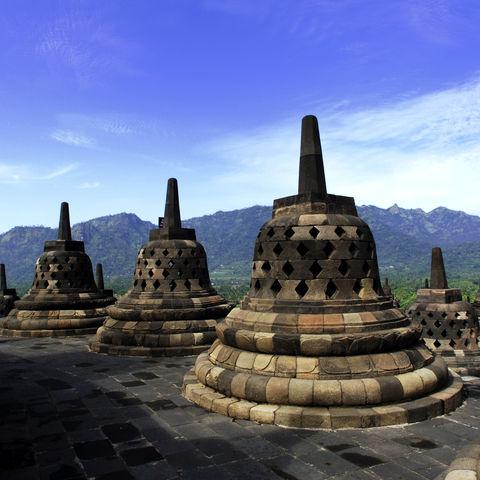 Borobudur Tempel auf Java, Indonesien