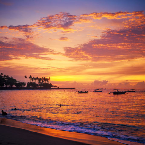 Sonnenuntergang am Senggigi-Strand, Indonesien