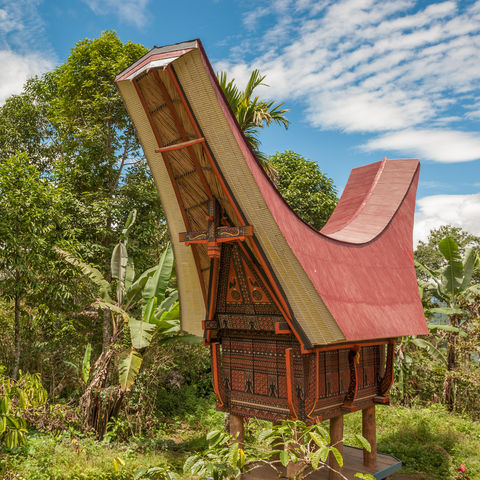 Traditionelle Ahnenhäuser: Tongkonan-Häuser bei den Toraja, Sulawesi, Indonesien