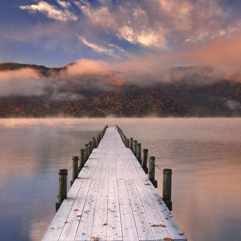 Japans höchster natürlicher See: Chuzenji See im Herbst, Nikko, Japan