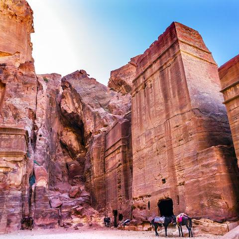 Rosarote Felsgräber in Petra, Jordanien