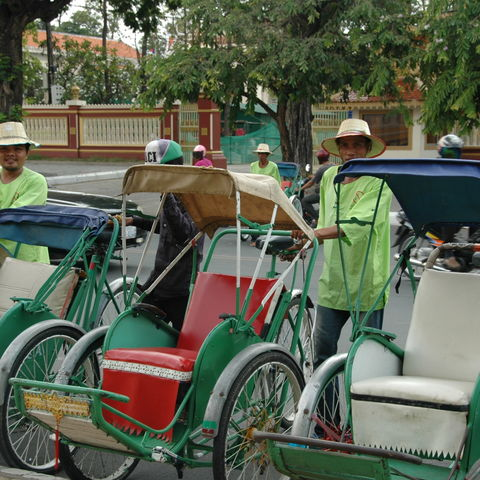 Fahrradrikschas in Phnom Penh, Kambodscha