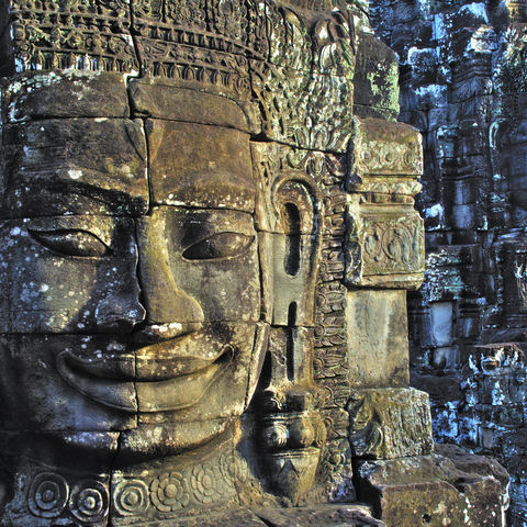 Steingesicht am Angkor Wat, Kambodscha