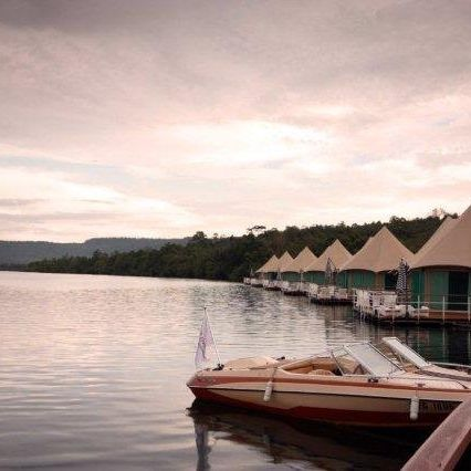 Ausblick auf die Lodge un den Tatai, Kambodscha