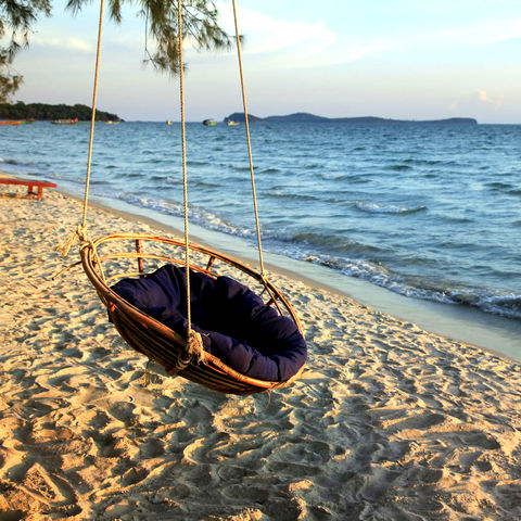 Schaukel am Otres Beach, Sihanoukville, Kambodscha