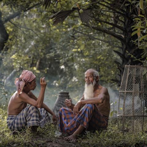 Zwei Fischer im Gespräch, Kambodscha