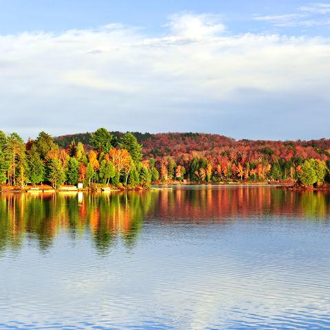 Farbenfroher Herbstwald spiegelt sich im See, Kanada