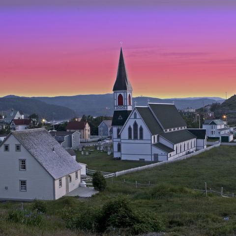 Vollmondnacht über Trinity, Neufundland, Kanada