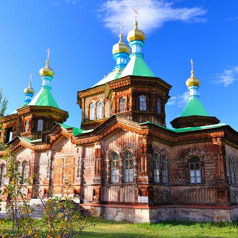 Hölzerne Dreifaltigkeitskirche in Karakol, Kirgistan