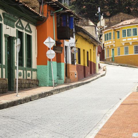 Gasse in der Altstadt Candelaria, Kolumbien