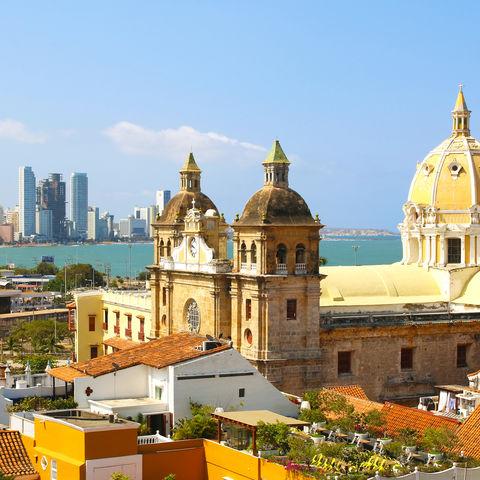 Historisches Zentrum von Cartagena mit Blick aufs Meer, Kolumbien