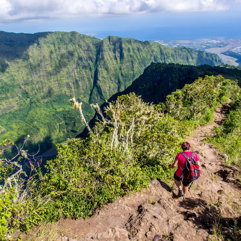 Wanderin im Talkessel Cirque de Mafate, La Réunion
