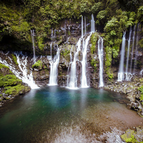 Lädt zum Baden ein: Zauberhafter Wasserfall Cascade Grand Galet, La Reunion
